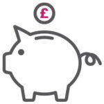 Cost Effective piggy bank marketing icon