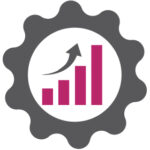 Efficient marketing icon with graph showing increase