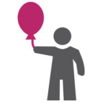 Event Management marketing icon figure holding pink balloon