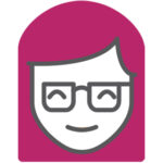 Expertise female icon with pink hair and glasses