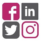 Social media icons Instagram Facebook LinkedIn Twitter in grey gray and pink