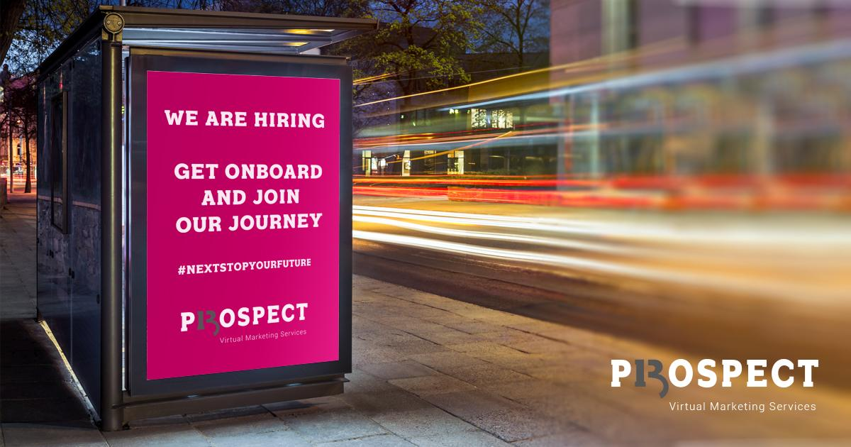 We are hiring recruitment advert on a bus stop advertising on a busy road for Prospect 13