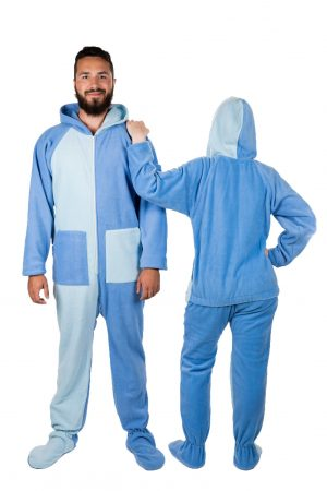 Sky Blues Kajamaz: Footed Pajamas for Adults