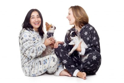 Snowflakes Kajamaz: Matching Fleece Dog Scarfz