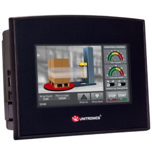SM43-J-R20 Samba 4.3″ Touch Screen PLC & HMI, 10 Digital, 2 D/A Inputs, 8 Relay Outputs