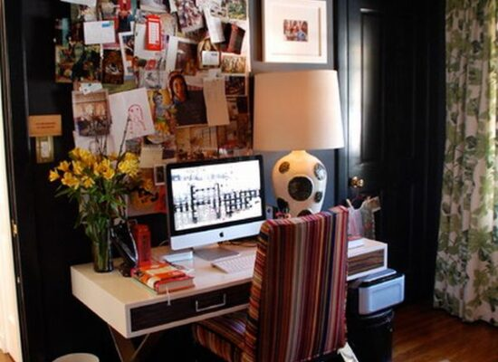 home office with black walls