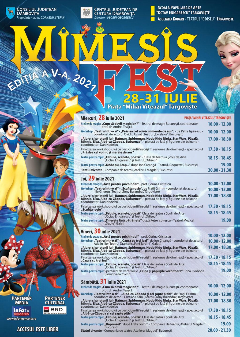 """Centrul Judeţean de Cultură Dâmboviţa va organiza cea de-a V-a ediţie a festivalului de teatru pentru copii """"Mimesis Fest""""."""