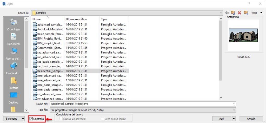 Eseguire il Controllo del Progetto Revit - Finestra di Dialogo Apri