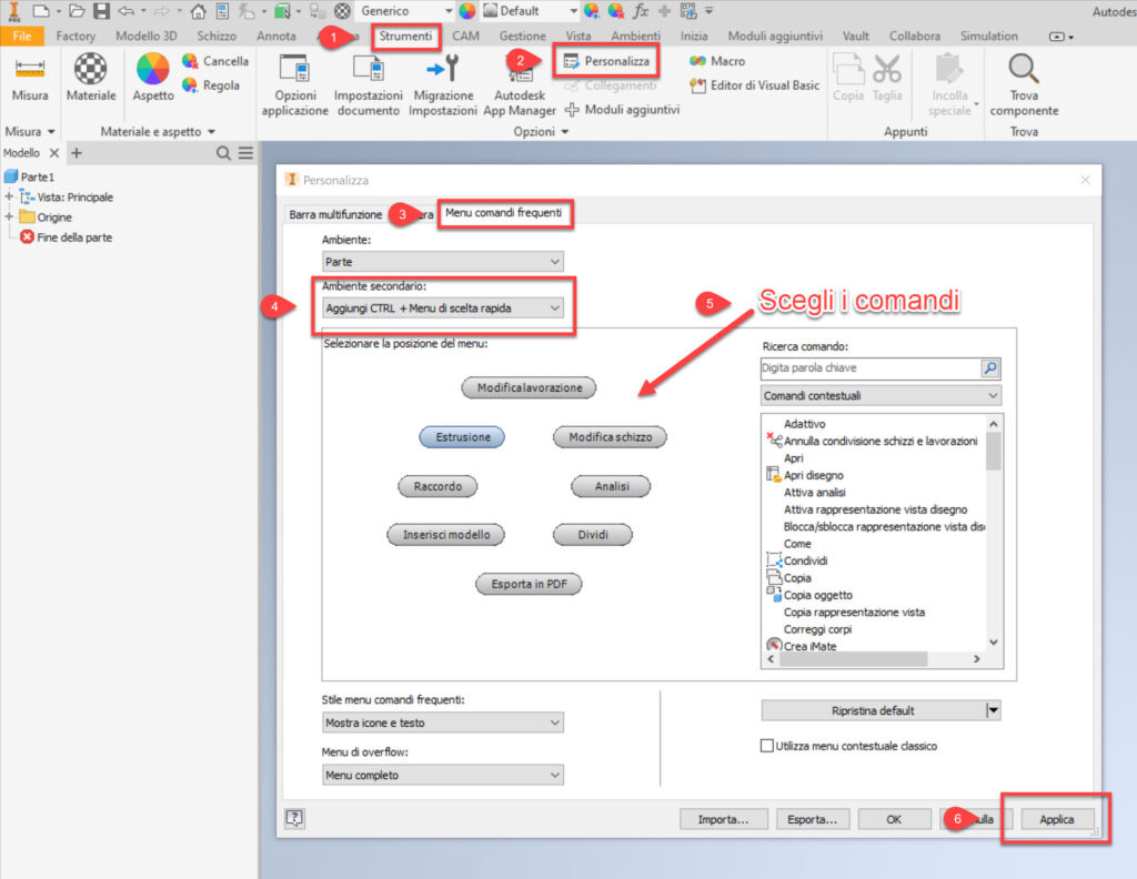Tips and Tricks di Autodesk Inventor Personalizzazione del Menu Comandi Frequenti