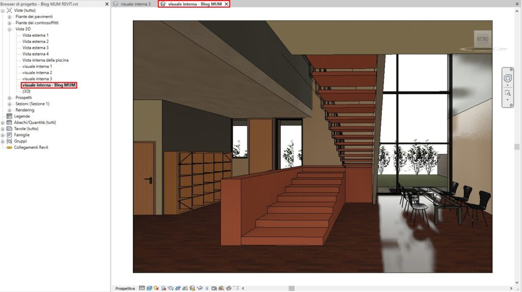 Bloccare una Vista 3D in Revit Visuale interna