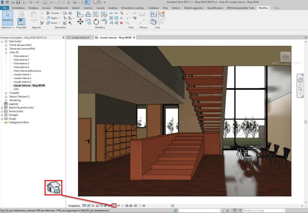 Bloccare una Vista 3D in Revit vista 3d sbloccata