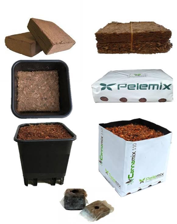 diferentes productos de turba de coco