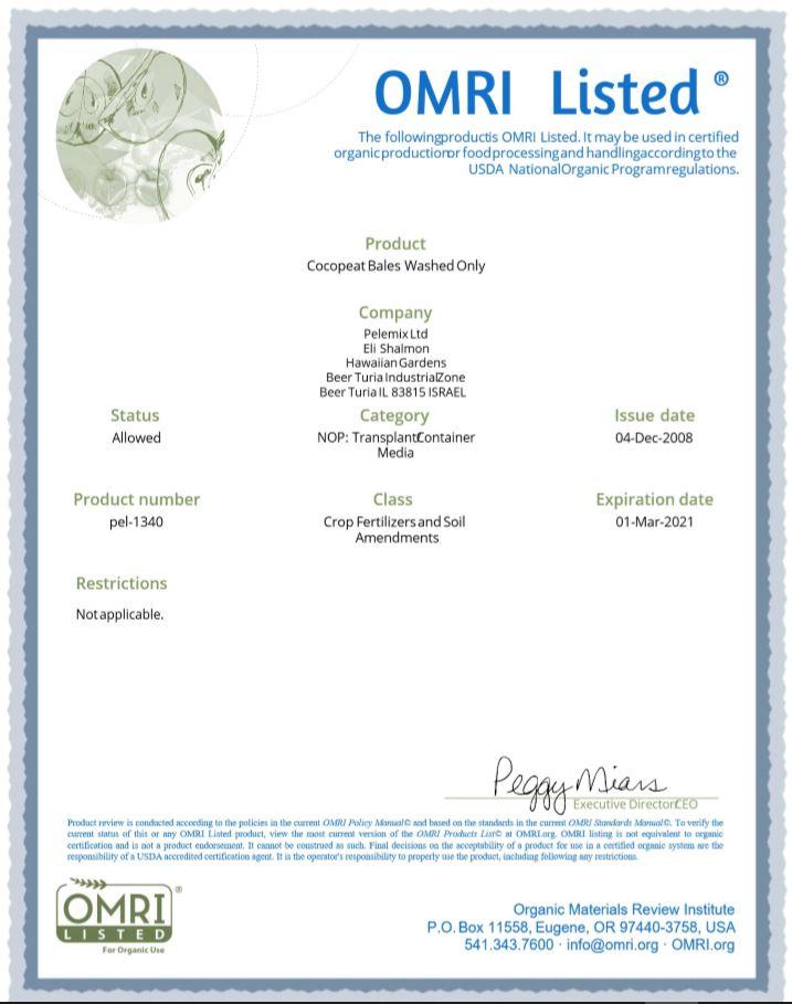 Certificado del Omri para turba de coco 1
