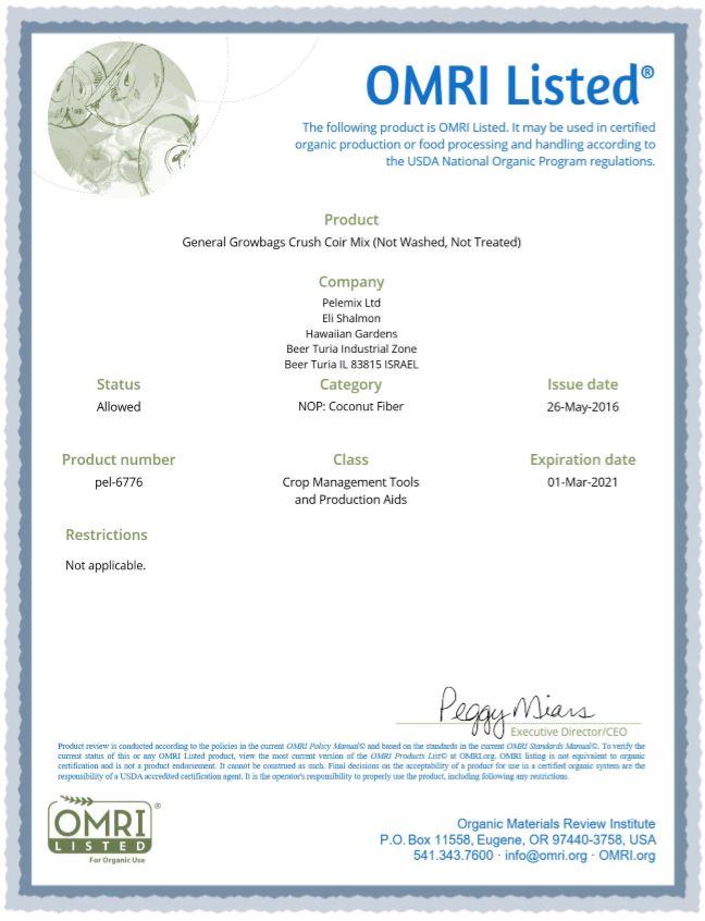 Certificado del Omri para fibra de coco 3