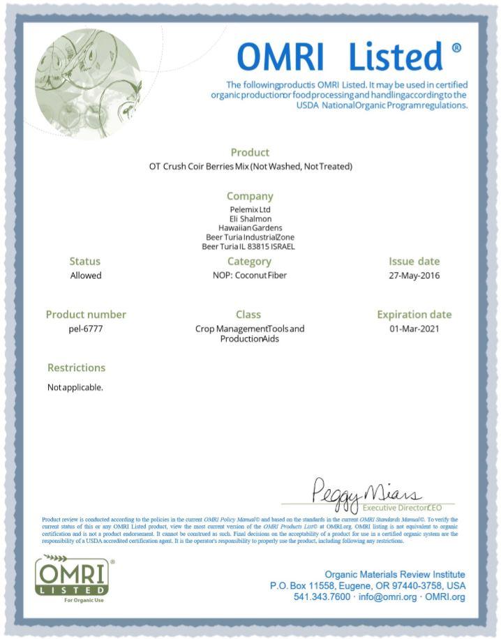 Certificado del Omri para fibra de coco 4