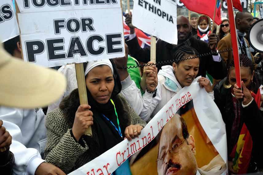 Supporters holding placards saying peace and Ethiopia