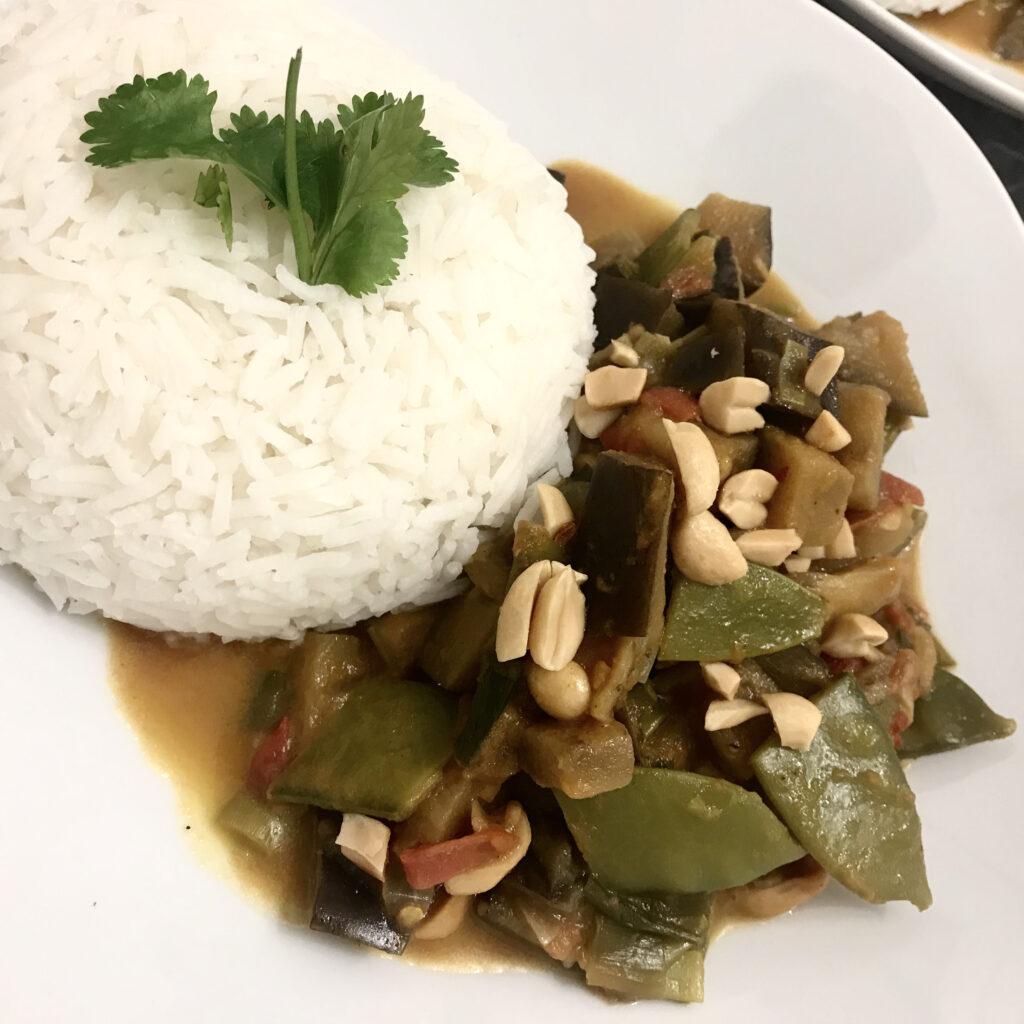 Auberginencurry mit Reis