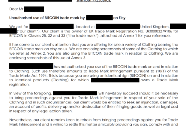 Bitcoin Cease and Desist Letter