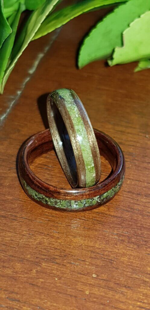 Walnut and Kingswood with Unakite wedding ring set