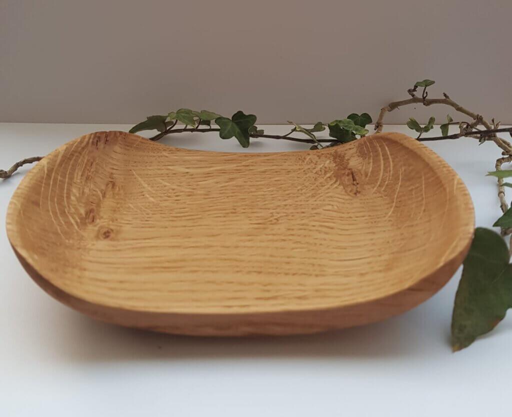 Oak turned oblong platter