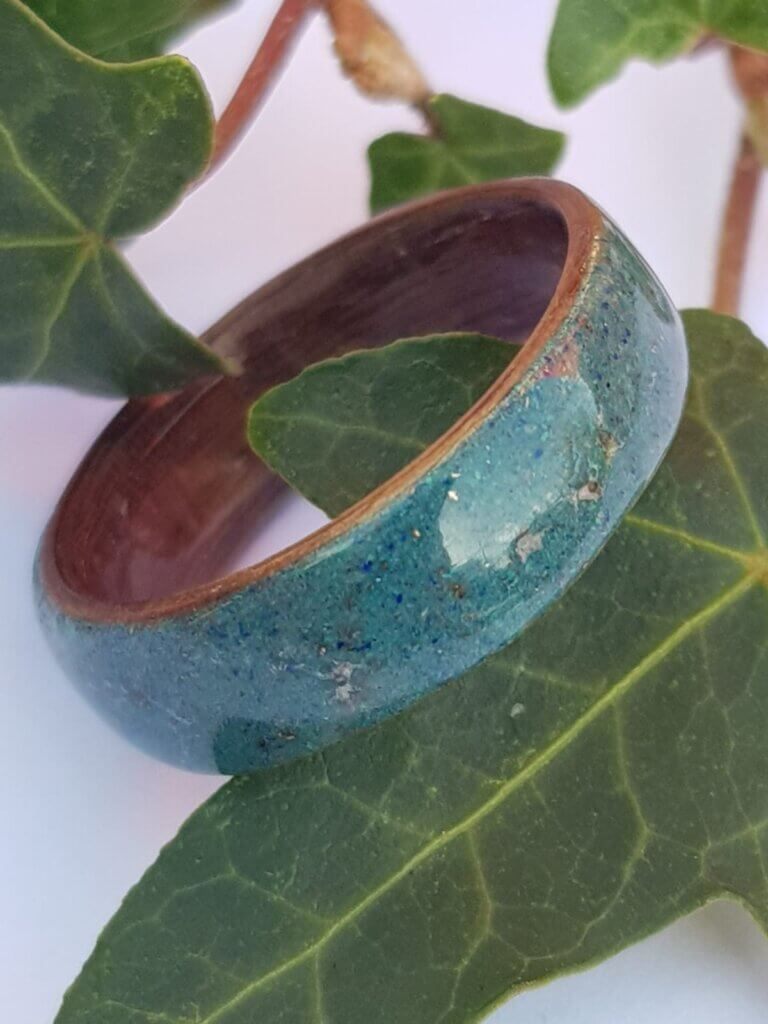 Walnut ring with our tri mix crystal