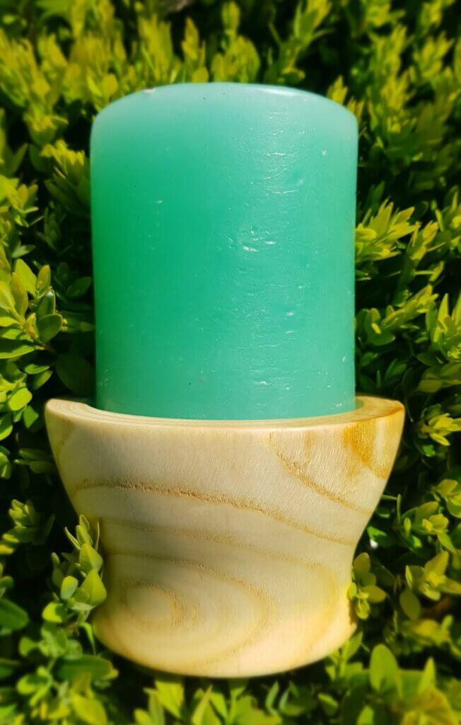 Poplar turned candle holder