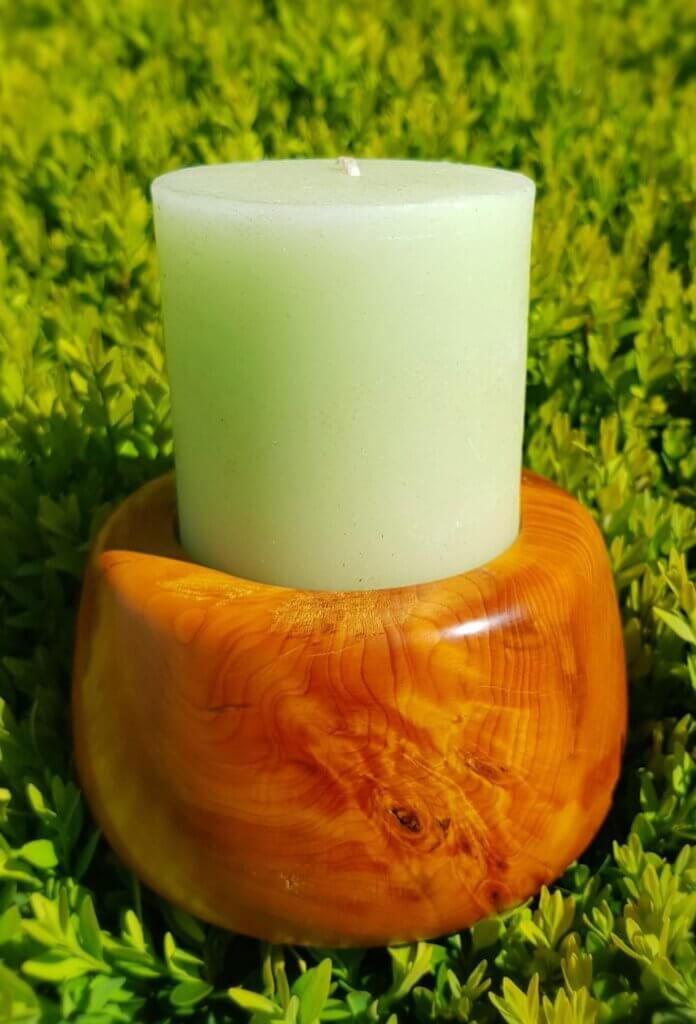 Yew turned candle holder