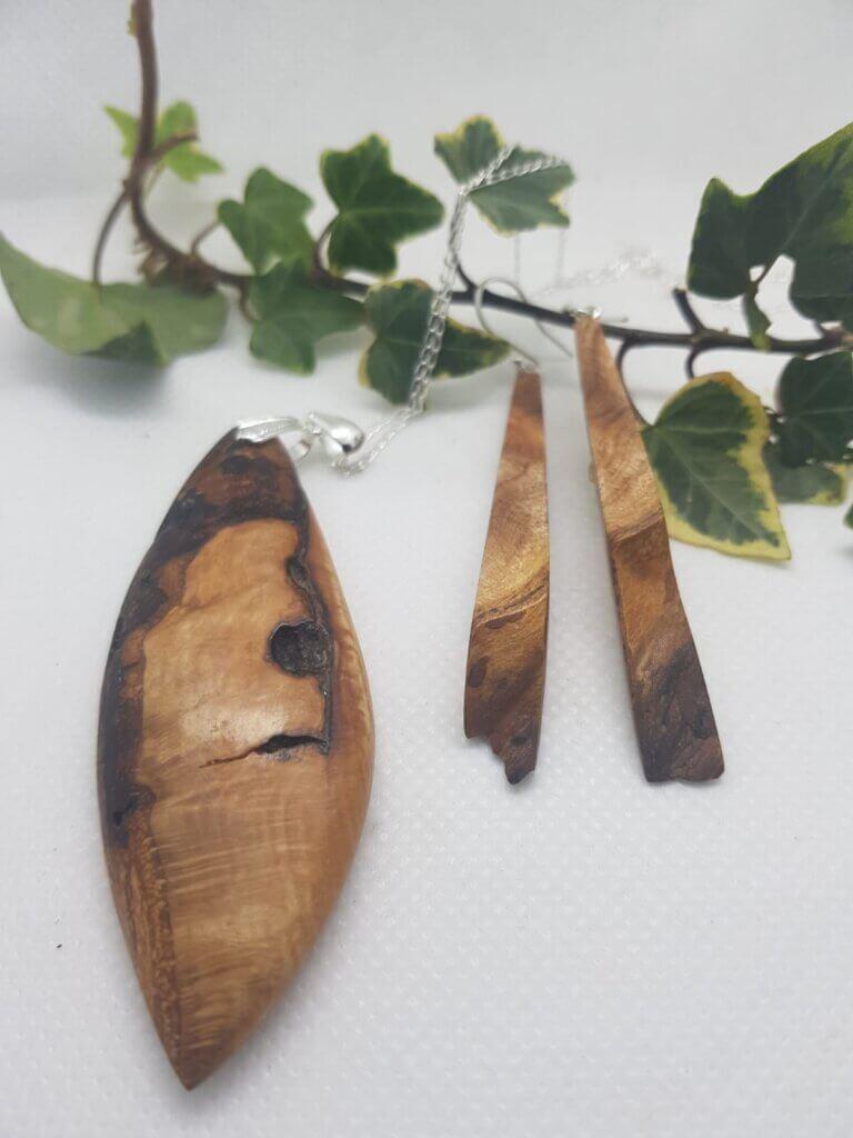 Elm Burr pendant and earring set