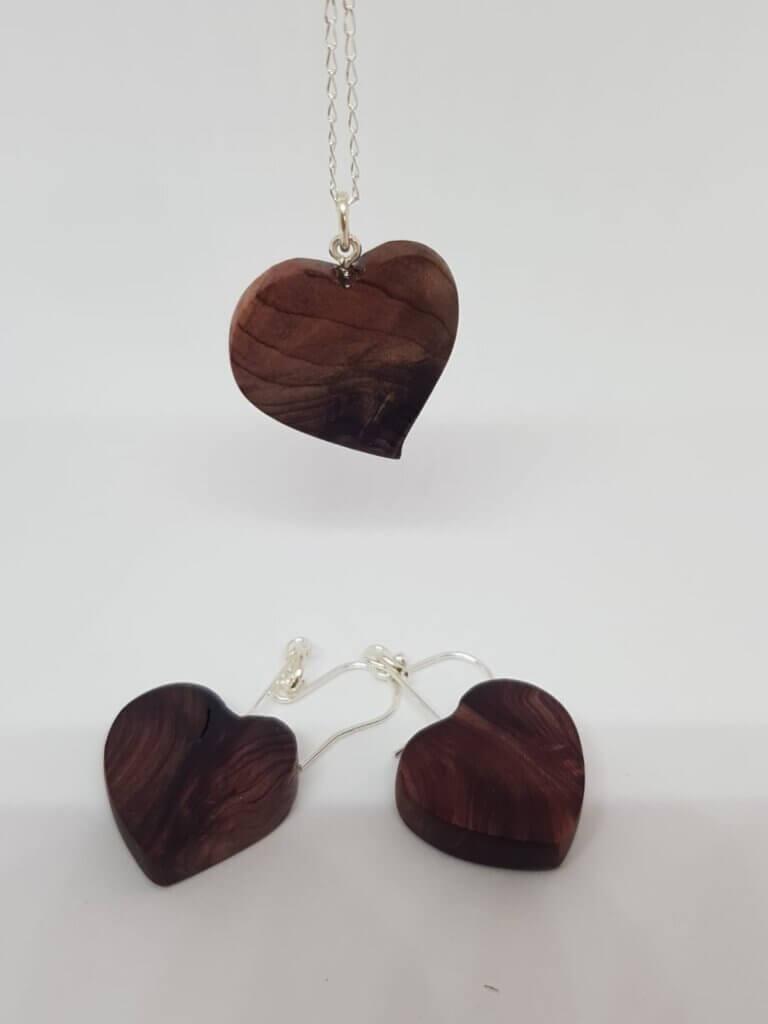 Yew heart wood pendant and earrings
