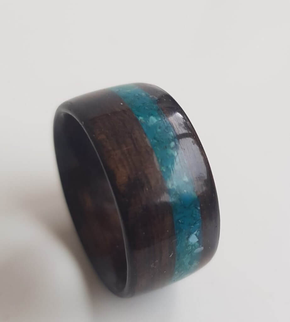 Figured Ebony ring with our tri mix of crushed crystals