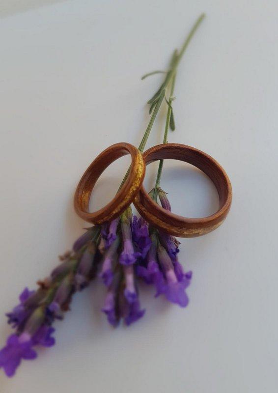 Kingswood and gold leaf wedding ring set