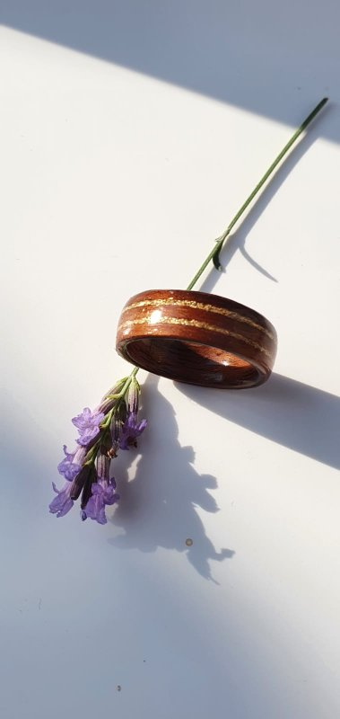Walnut ring with Gold leaf insets