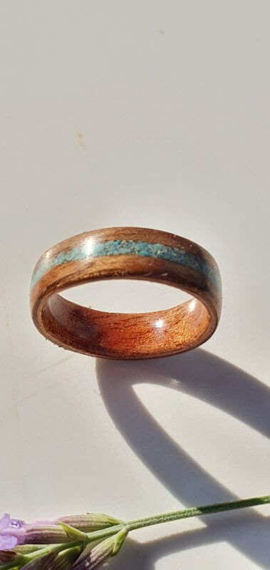 Walnut Ring with Sapele liner inset with Turquoise