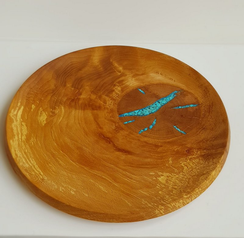 Elm Burr turned platter with Turquoise