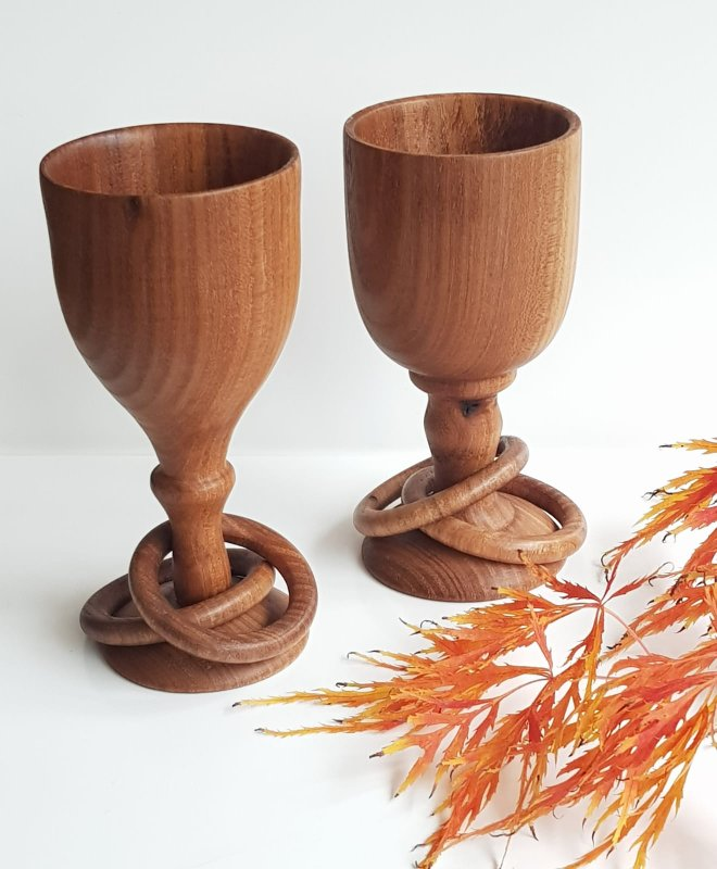 Pair of Elm Wedding Goblets