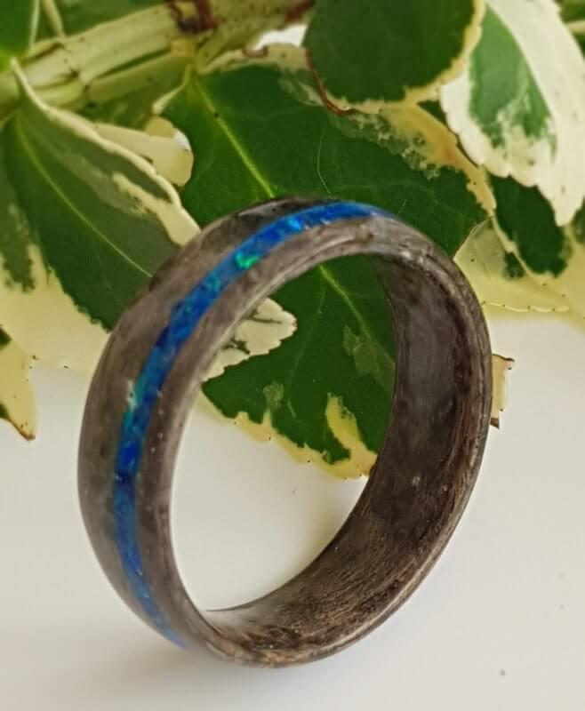 Grey Pippy Maple with Cobalt Blue Opal Ring