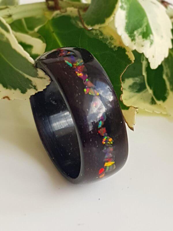 Ebony with Rainbow Opal Ring