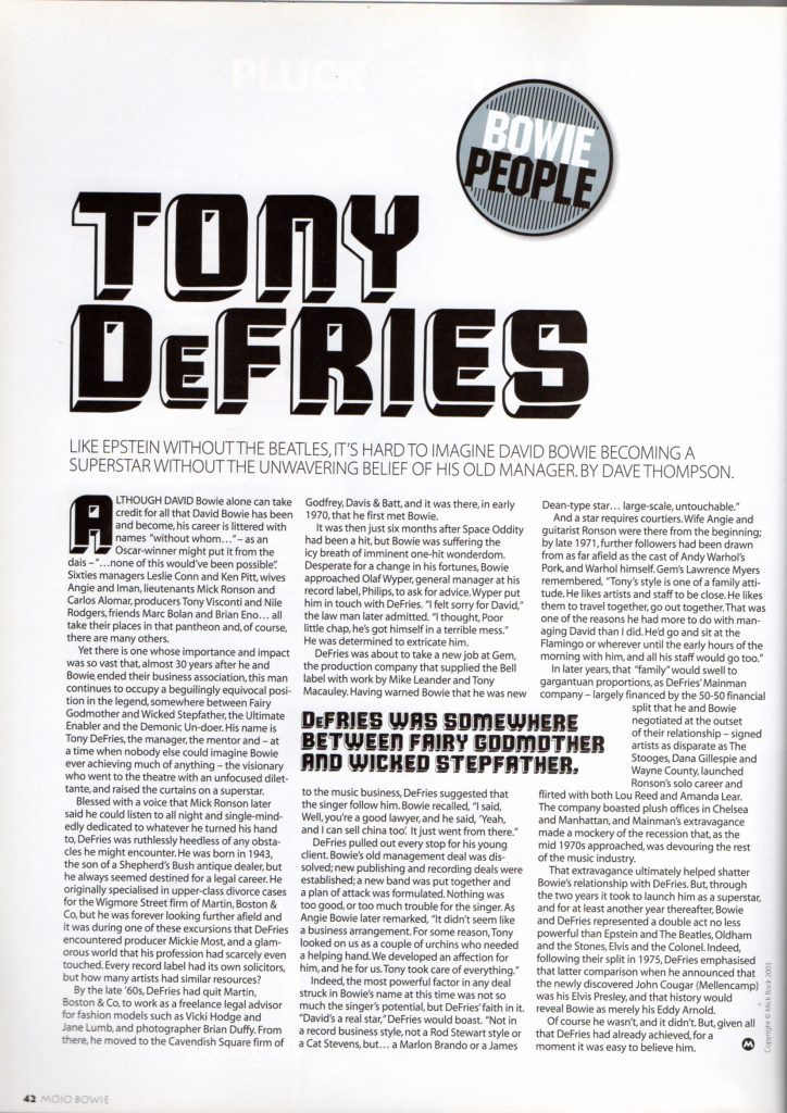 Tony Defries MOJO 2003