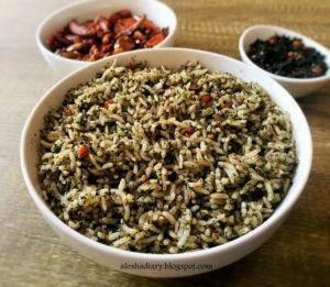 Drumstick leaves Rice-முருங்கைக்கீரைப் பொடி சாதம்(Murungai Keerai podi sadam)