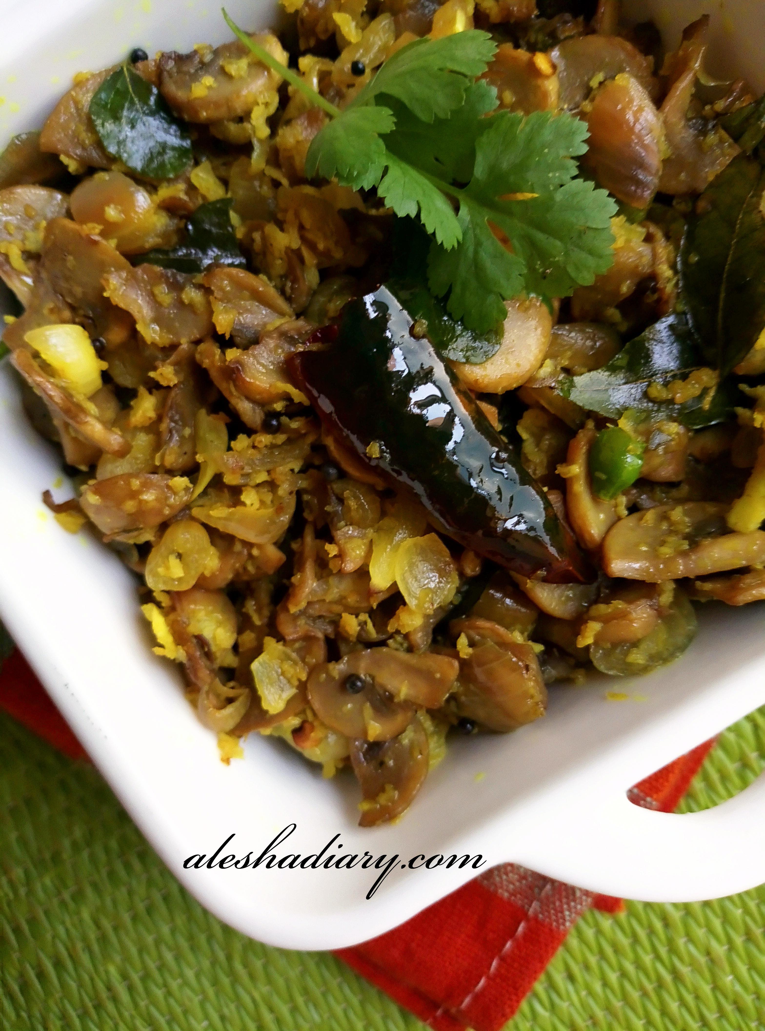 Mushroom Thoran – Koon Thoran – Kerala style mushroom stir-fry with coconut