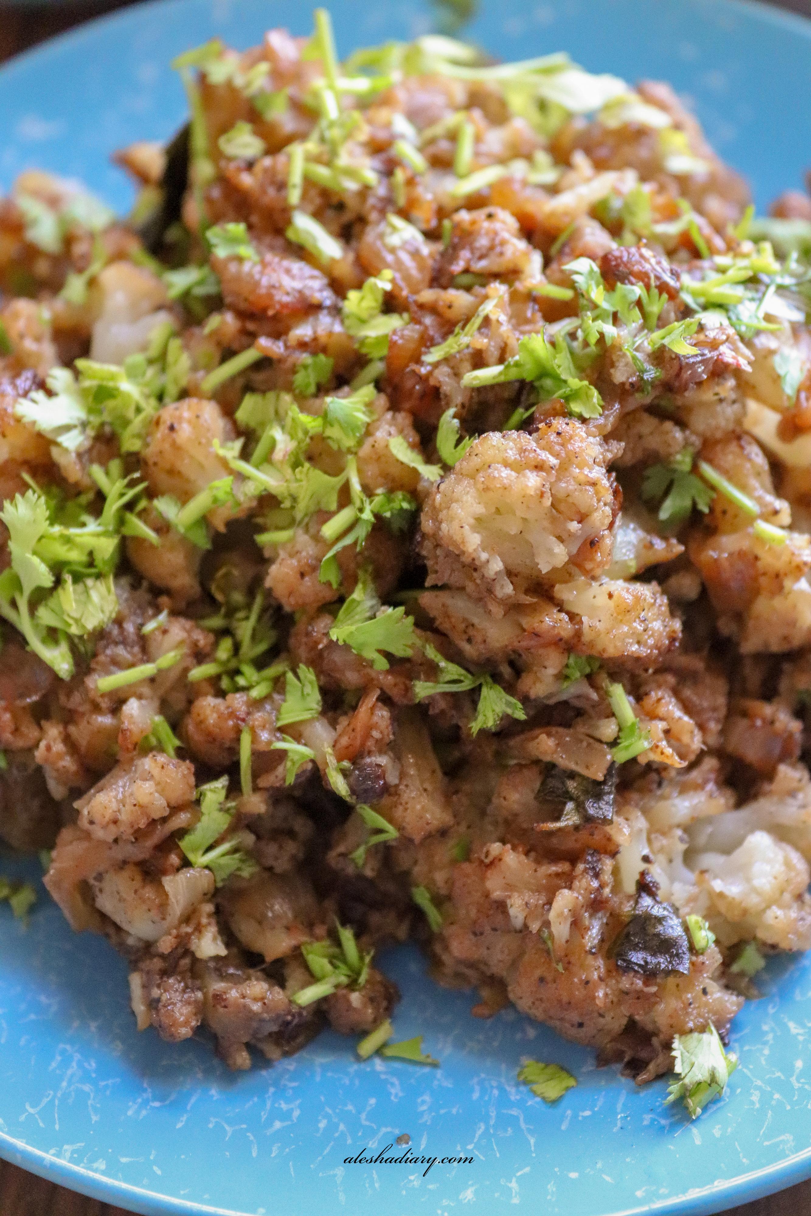 Cauliflower pepper fry – Cauliflower milagu varuval