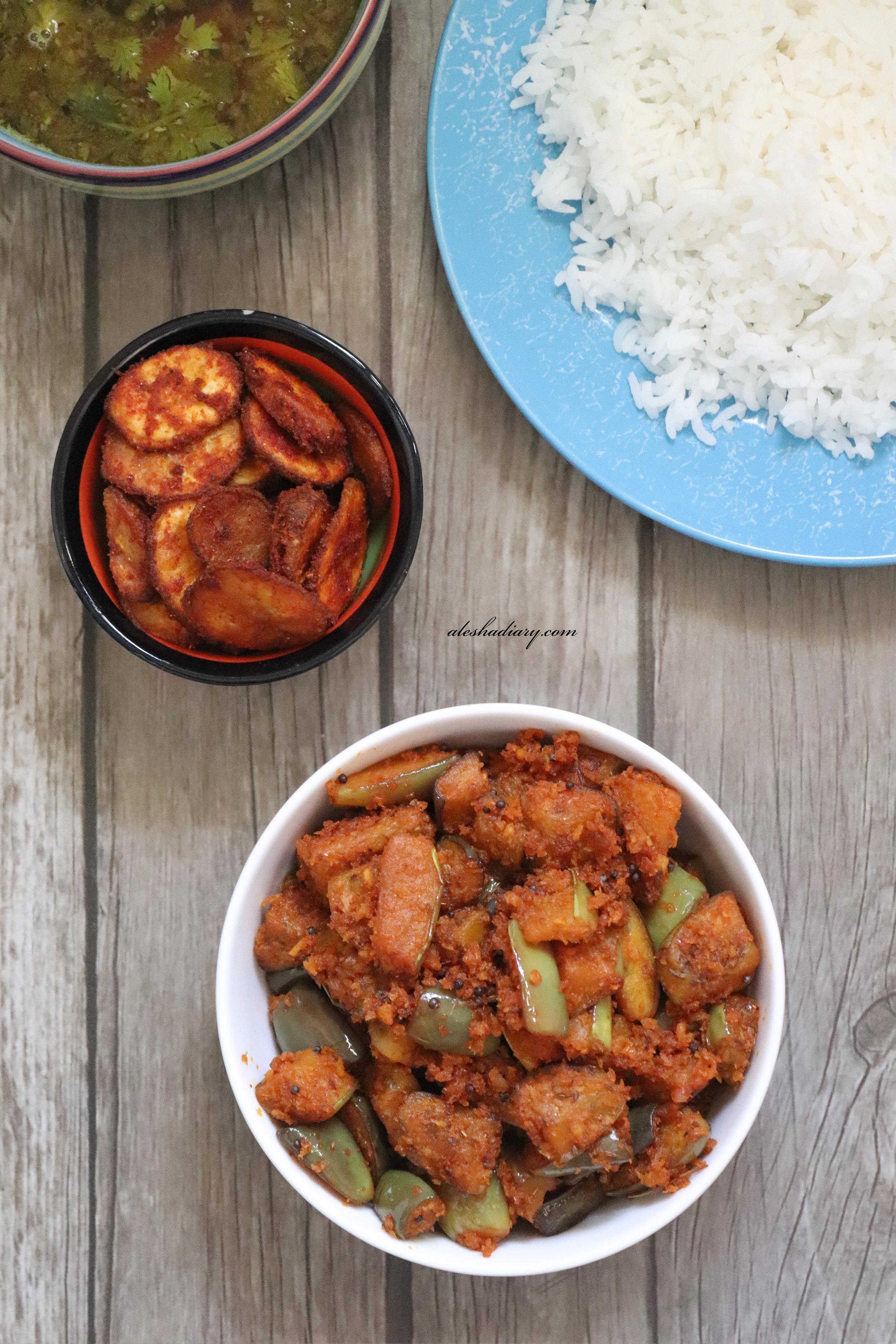 Brinjal stir-fry with coconut – Kathrikai poriyal