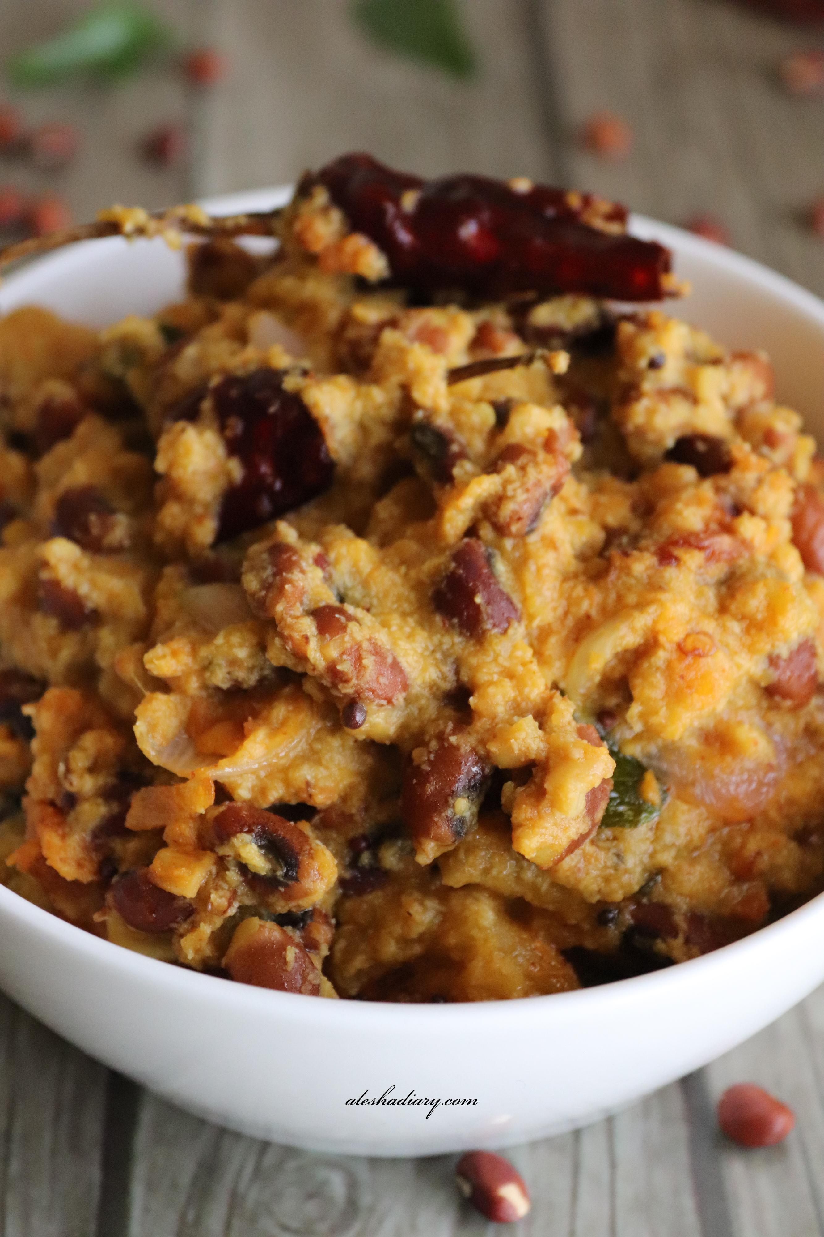 Mathanga vanpayar erissery(Onam sadya Recipe) – Butternut Squash red cowpea curry – Poosanikai Thatta payar(Karamani)kootu