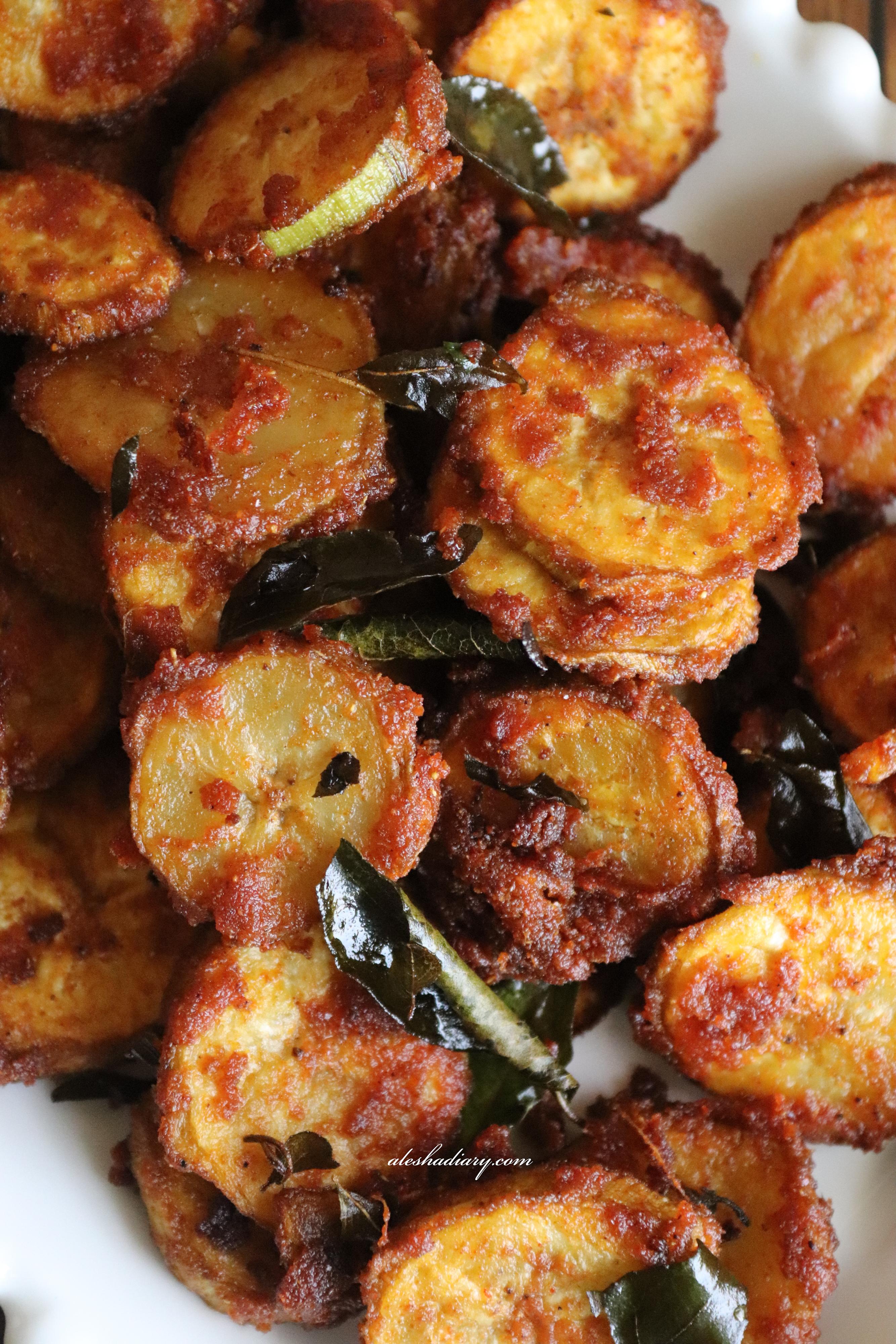 Crispy Fried Raw Banana – Vazhakkai Fry – வாழைக்காய் ஃப்ரை
