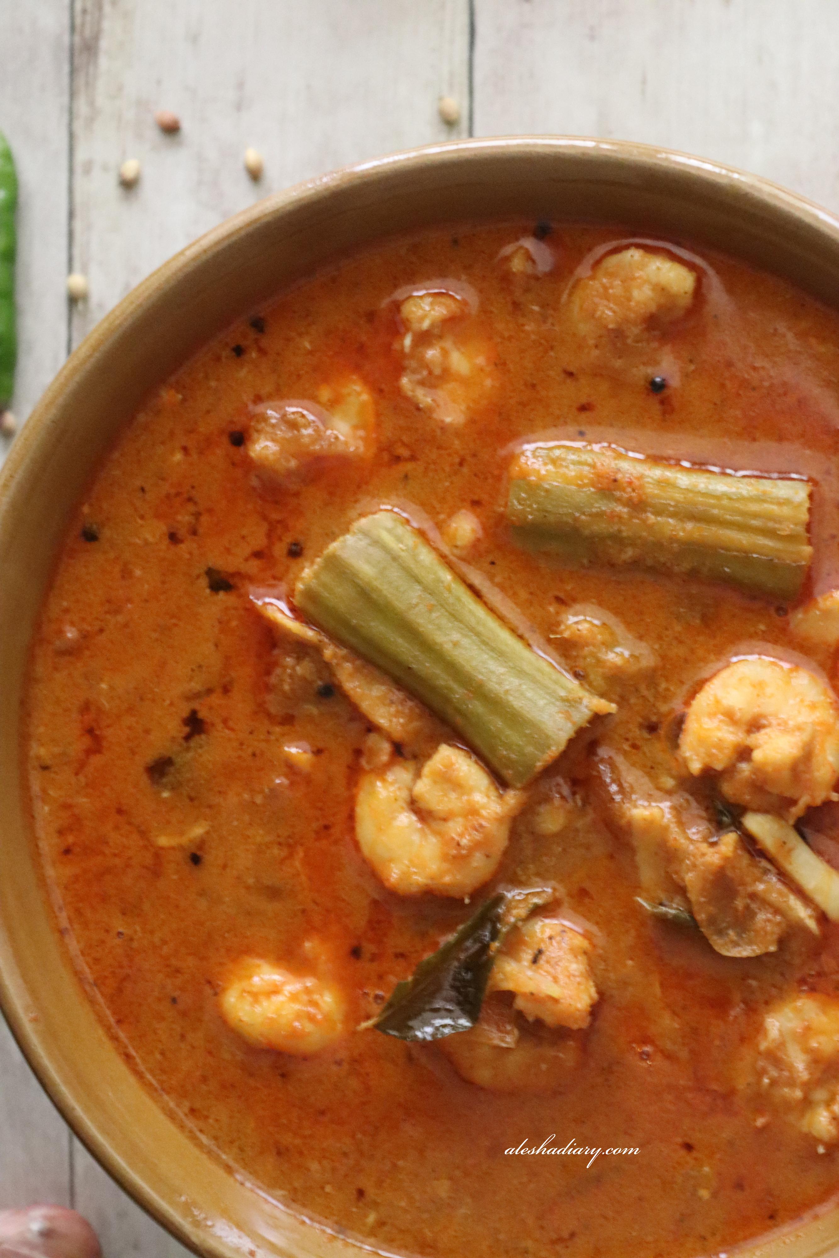 Prawn Drumstick curry – Eral murungaikkai Kuzhambu – இறால் முருங்கைக்காய் குழம்பு