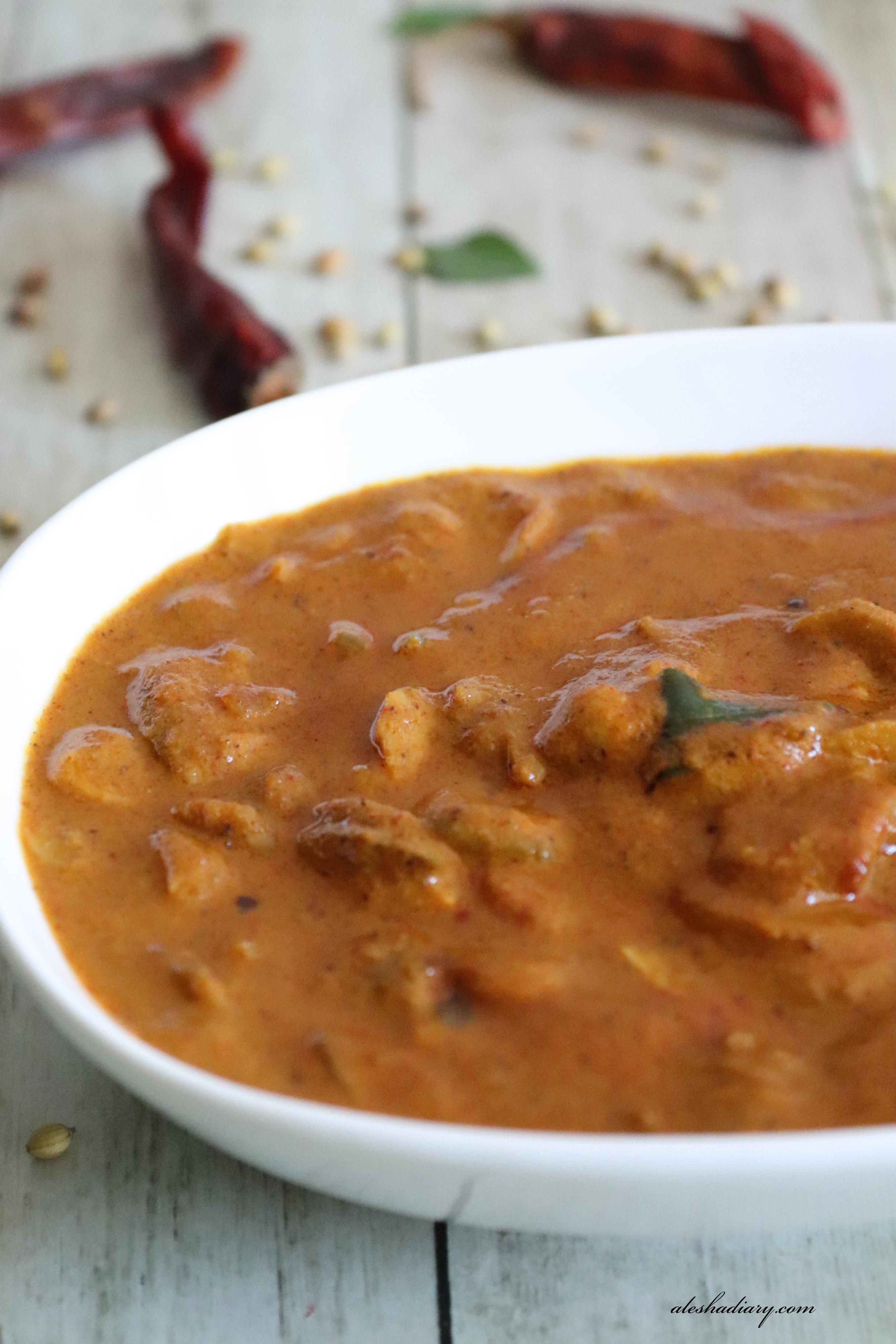 Koon Theeyal – Mushroom Theeyal – Kerala Style Mushroom curry – காளான் தீயல்