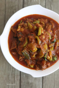 Mutton Ridgegourd Curry – Beerakaya Mamsam – Peerkangai mutton curry – Turai Gosht