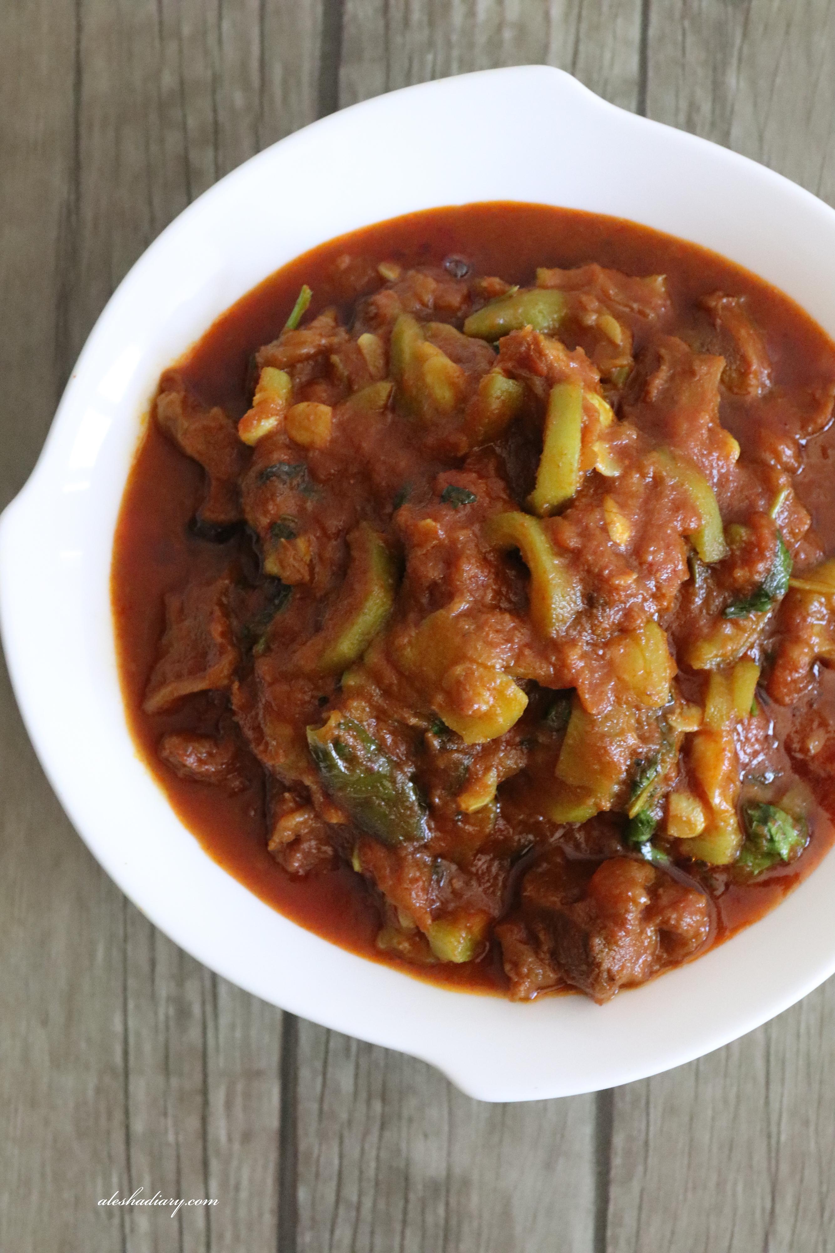 Mutton Ridgegourd Curry – Beerakaya Mamsam – Peerkangai mutton curry – Turai Gosht