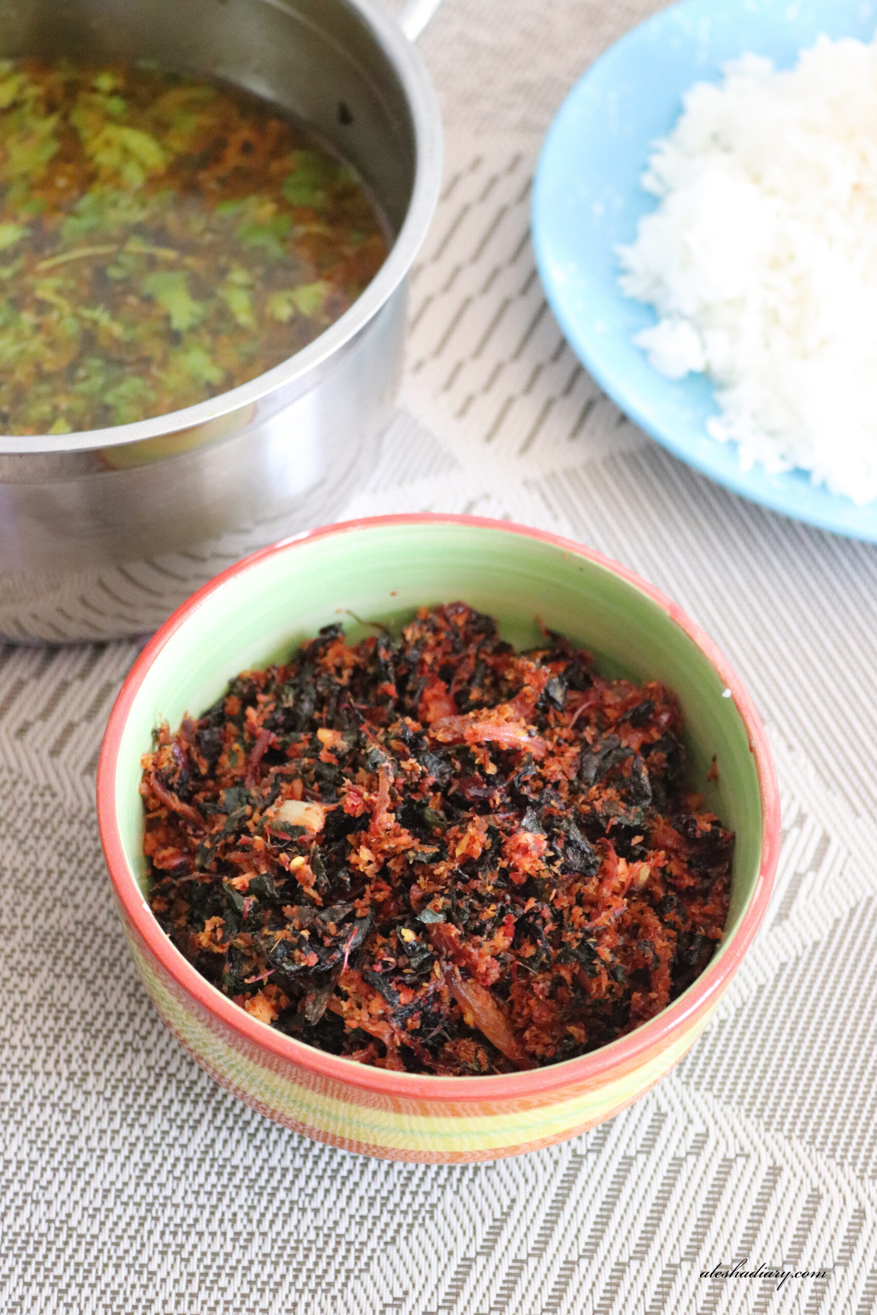 Keerai Thuvaran – Cheera Thoran – Red Amaranth Leaves Stir-fry with Coconut