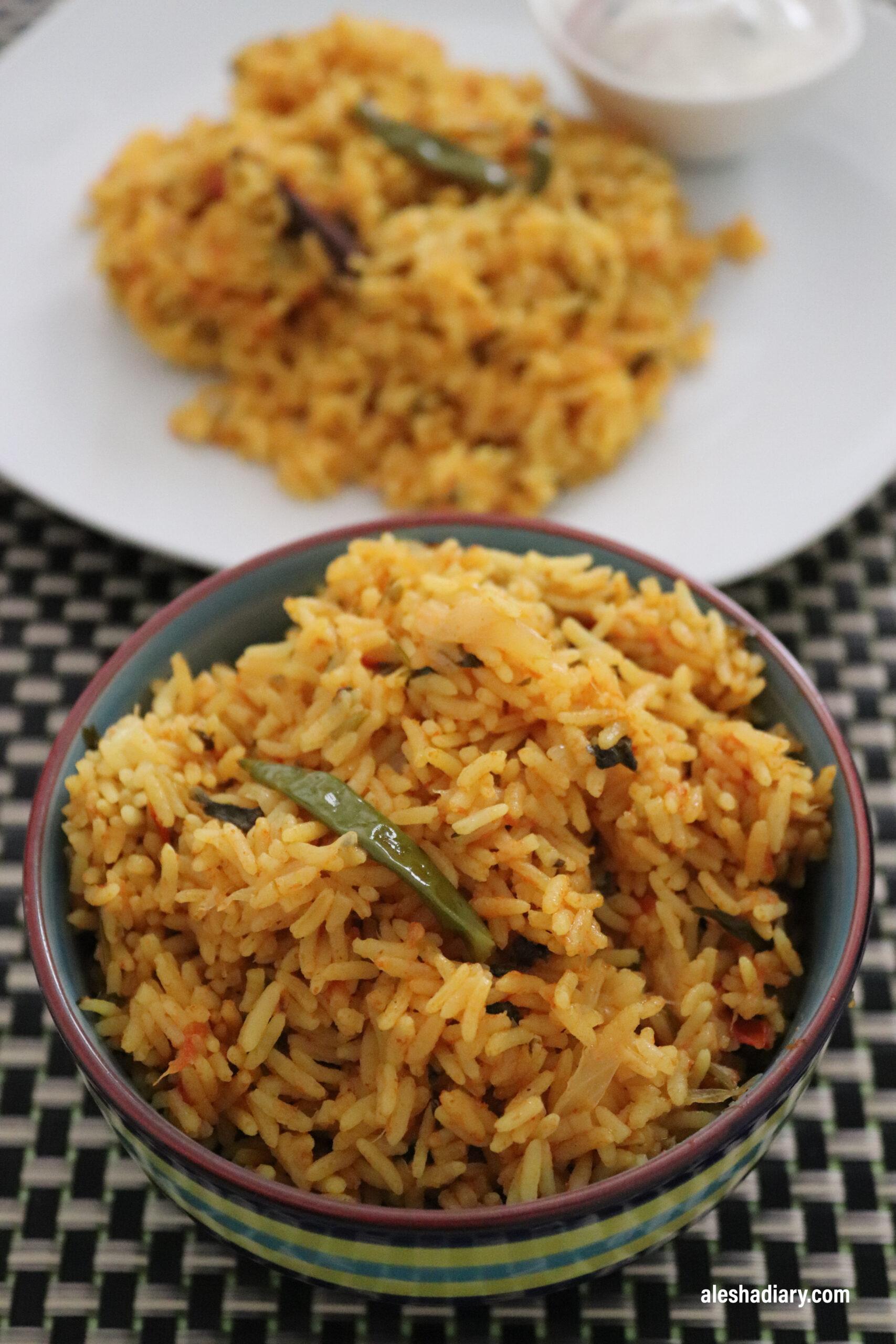 Tomato Rice – Thakkali Sadam – Biryani style Tomato Rice